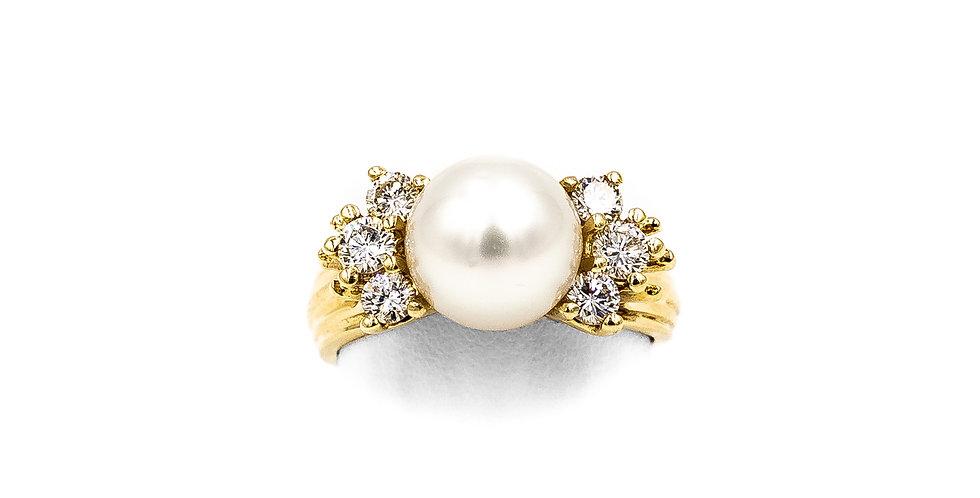 Yellow Gold 9mm Pearl 6 Diamonds Prong Set Ring