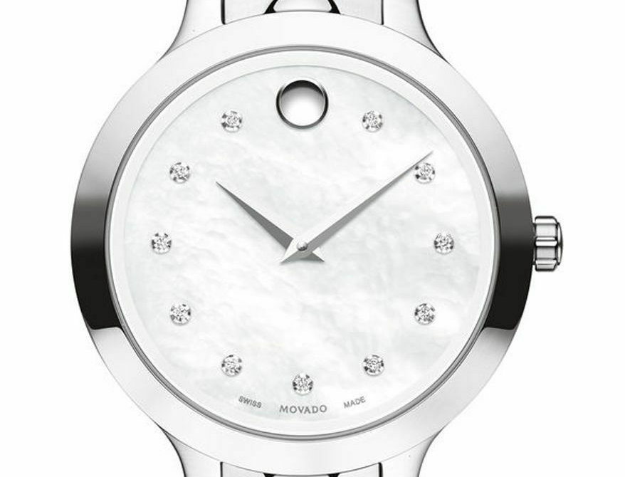 Movado Luno Diamond Mother of Pearl Stainless Steel Ladies Watch 0607055
