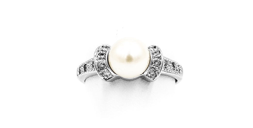 White Gold Pave White Pearl Ring