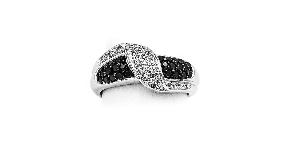 White Gold Pave White/Black Diamond Ring