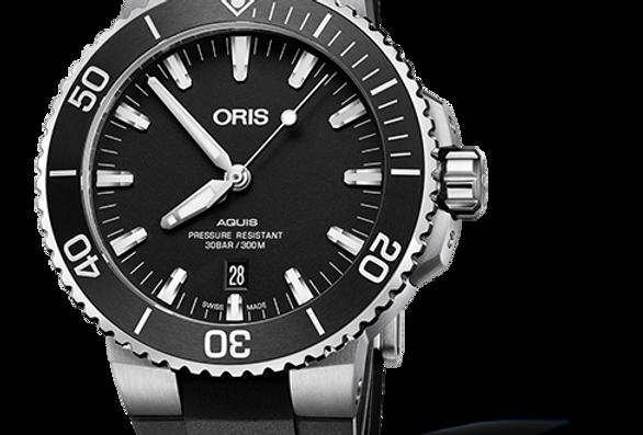 ORIS Aquis Date Black Rubber Strap Men's Watch 01 733 7730 4124-07 4 24 64EB