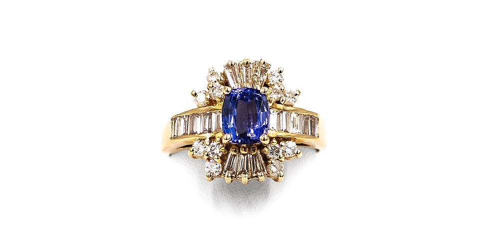 Yellow Gold Banquet Diamond With Tanzanite Center Ring