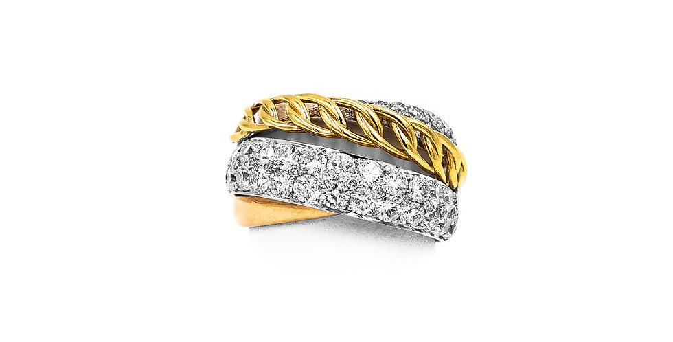 White Gold Three Tone 2 Rows Pave Diamond Ring