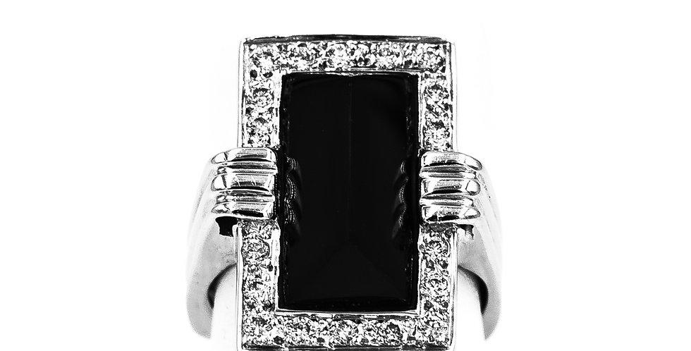 White Gold Long Black Onyx Diamond Halo Ring