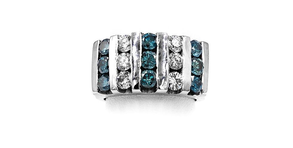 Platinum 5 Row Radiated Blue Diamond Ring