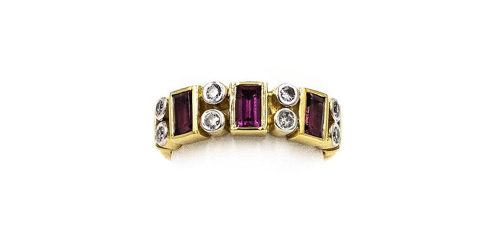 Yellow Gold Pink Tourmaline Diamonds Bezel Set Ring