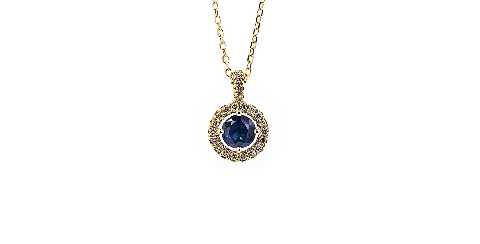 Classic Yellow Gold Sapphire Diamond Halo Necklace