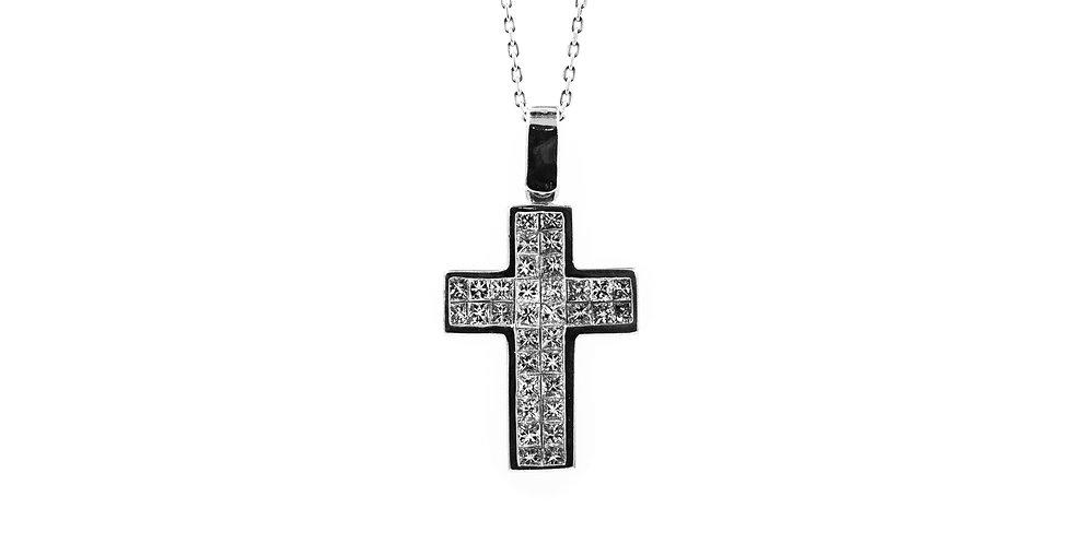 White Gold Invisible Set Princess Cut Diamond Cross Ladies Necklace