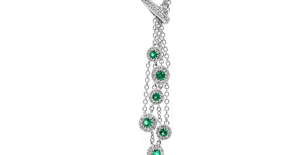 White Gold Dangling Neck Bezel Emerald Halo Necklace