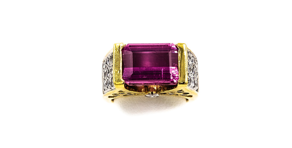 Yellow Gold Pink Tourmaline  Tension Setting Ring