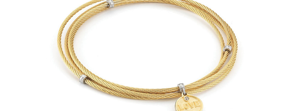 Yellow Cable Affirmation Bangle with Diamond Love Charm Ref.
