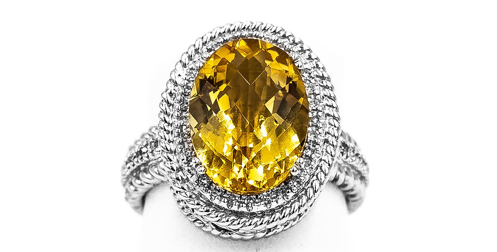 White Gold 5.36 Oval Citrine With Thin Halo Bead Ring