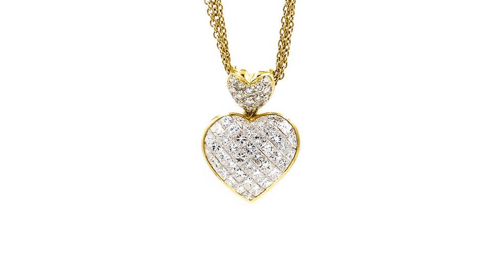 Classic Yellow Gold Diamond Heart Necklace