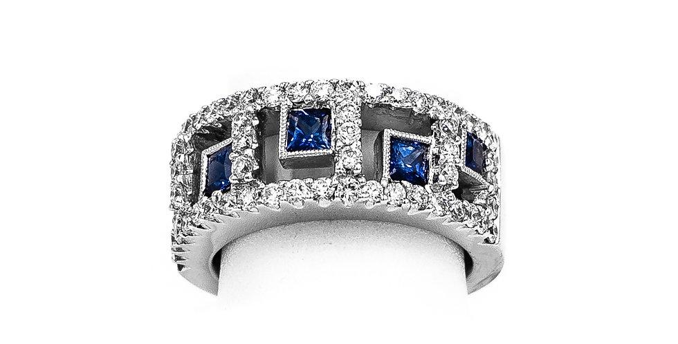White Gold Round Diamond Princess Sapphire Ring