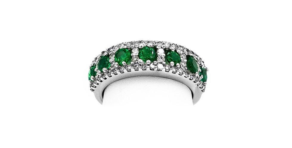 White Gold 7 Round Emerald 34 Round Diamond Ring