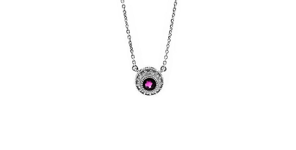 Classic White Gold Ruby Bezel Set Necklace