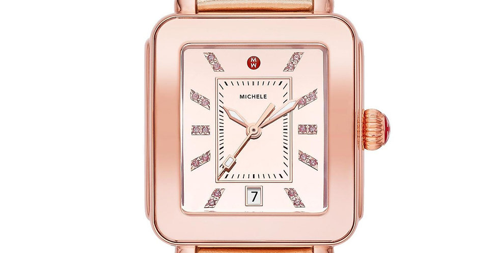Michele Deco Sport High Shine Pink Tone Mirror Dial Leather Watch MWW06K000022