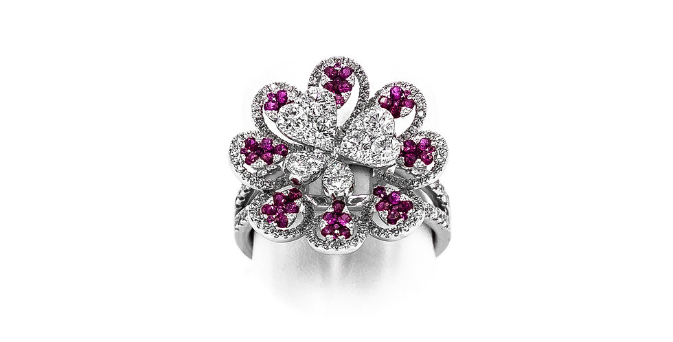 White Gold Rubies Flower With Diamond Center Ring
