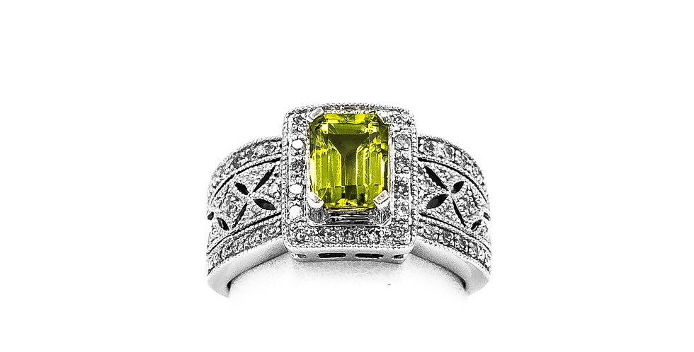 White Gold Peridot Emerald In Filigree Setting Ring