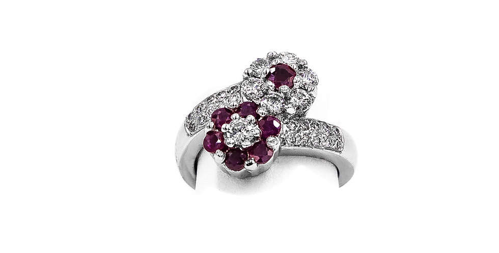 White Gold Diamond And Ruby Flower Bypass Ring