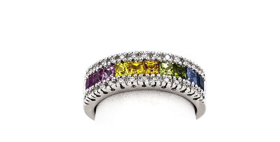 White Gold Rainbow Sapphire Princess Channel Ring