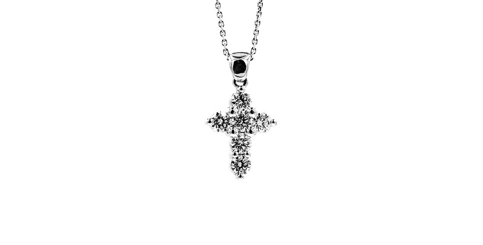White Gold Prong Set Diamond Cross Ladies Necklace