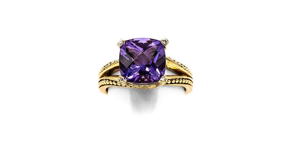 Yellow Gold Amethyst Diamond Bezel On Prongs Ring