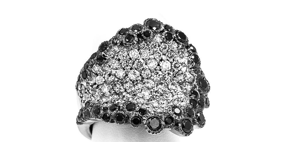 White Gold Black Diamond Square Shape Omega Ring