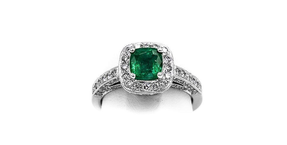 White Gold Square Emerald Diamond Halo Ring