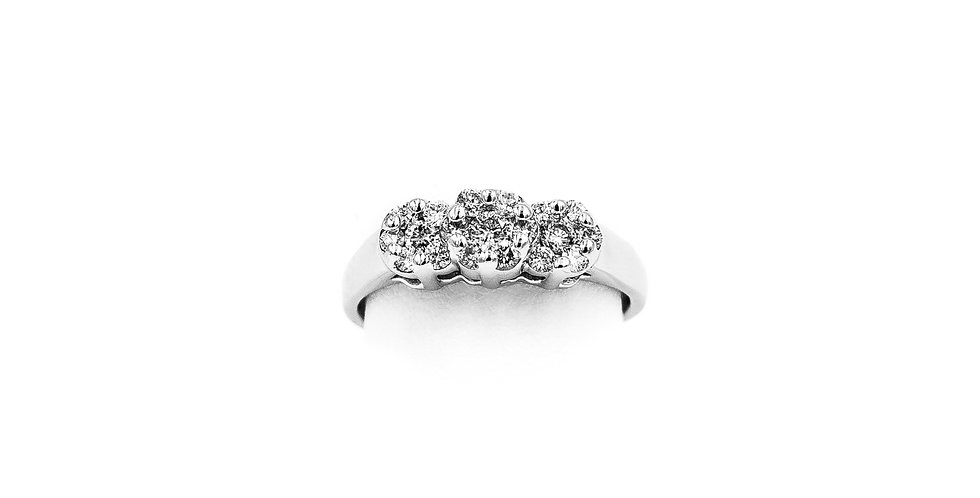 Platinum Three Cluster Diamond Ring