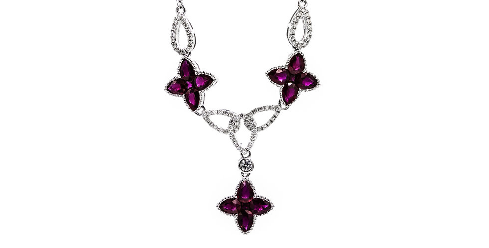White Gold Ruby Clovers With Diamonds Necklace