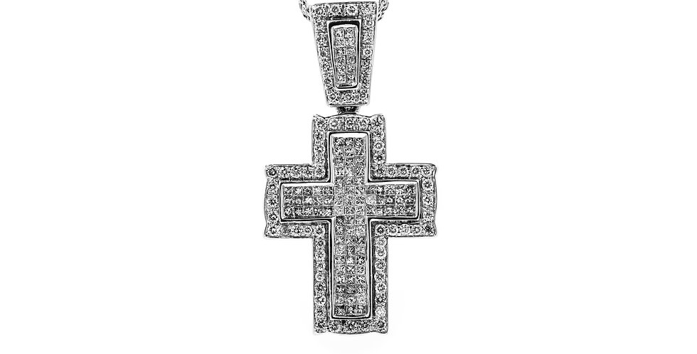 White Gold Diamond Cross Invisible Set With Triple Chain Necklace