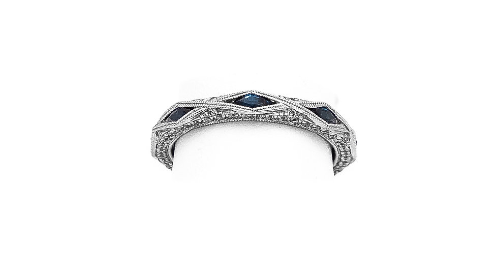 White Gold Eternity Diamond Sapphire Ring