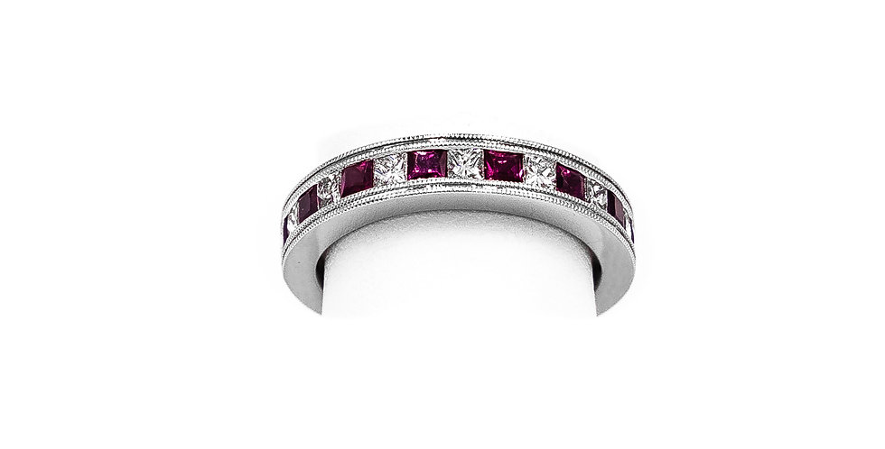 White Gold Ruby Channel Halfway Princess Ring