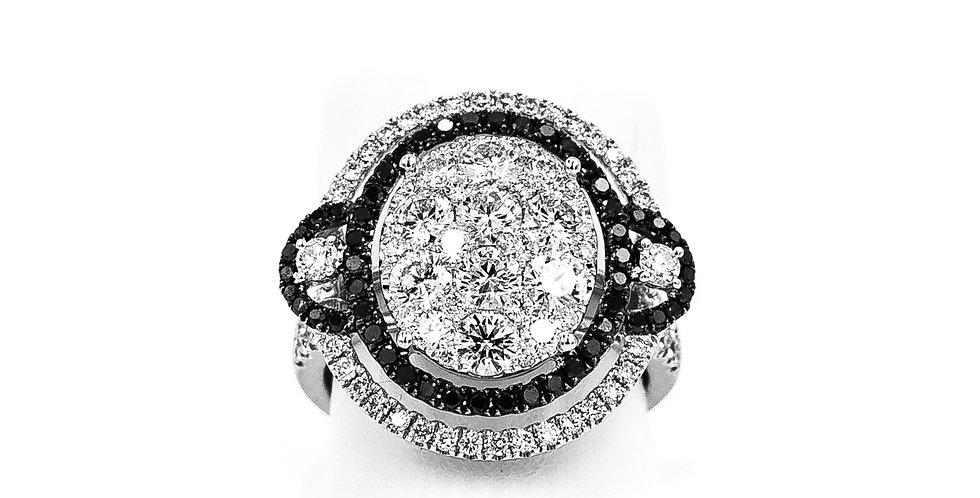 White Gold Oval Cluster With Black/White Diamonds Ring