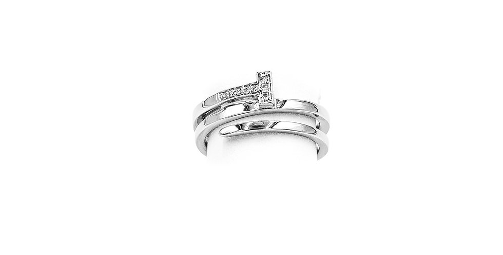 White Gold Pave T-Wrap Around Diamond Ring