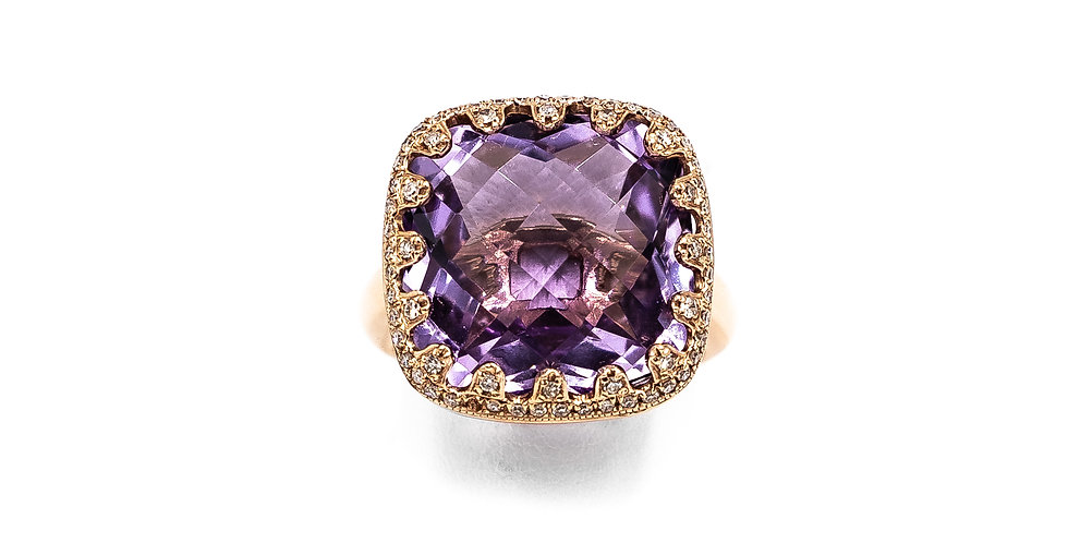 Rose Gold Amethyst Pave Hidden Halo Ring