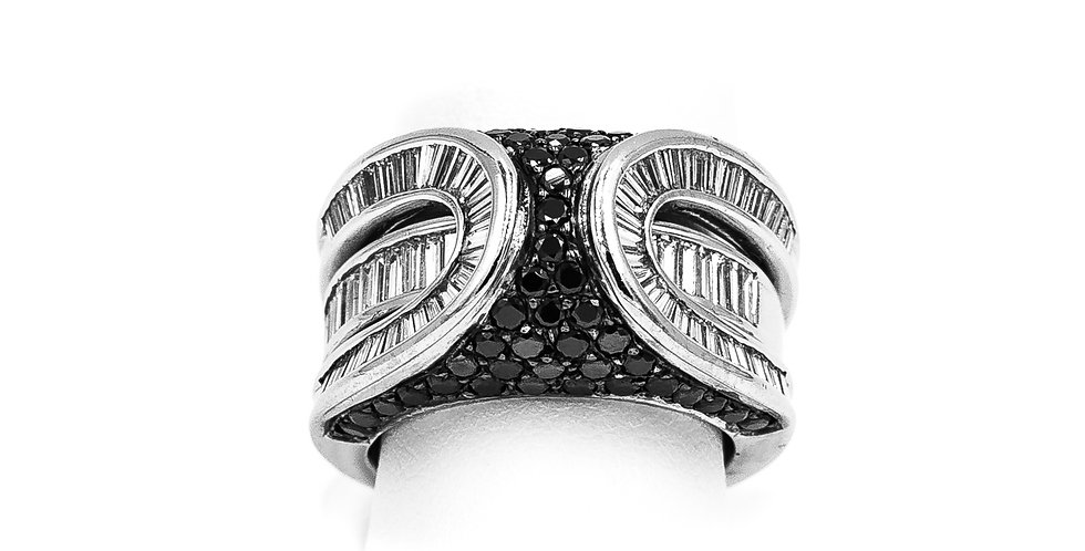 White Gold Black Diamonds Removable Center Ring