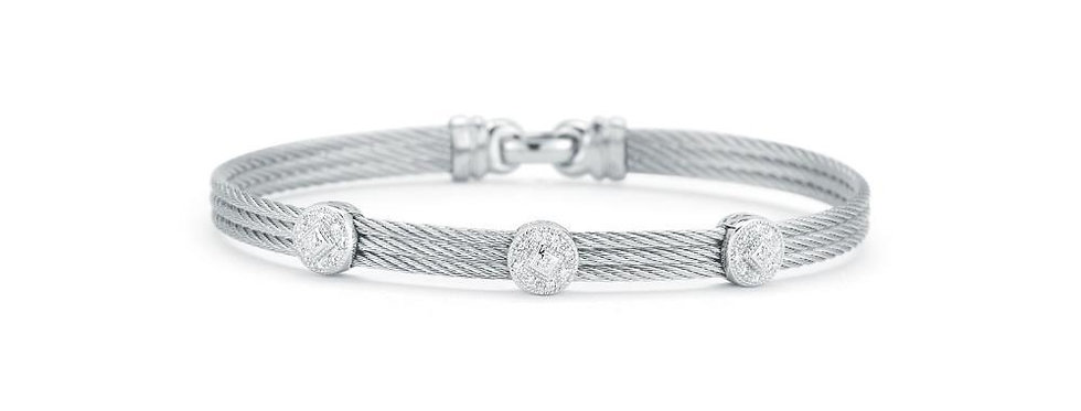 ALOR Classique Bangle 18k White Gold Triple Diamond Station 04-32-S832-11