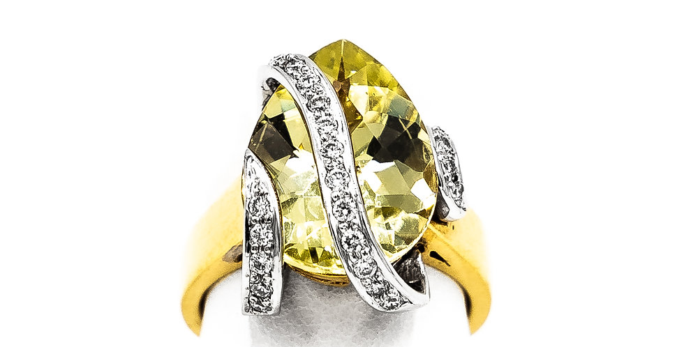 Yellow Gold Oval Lemon Color Stone Ring