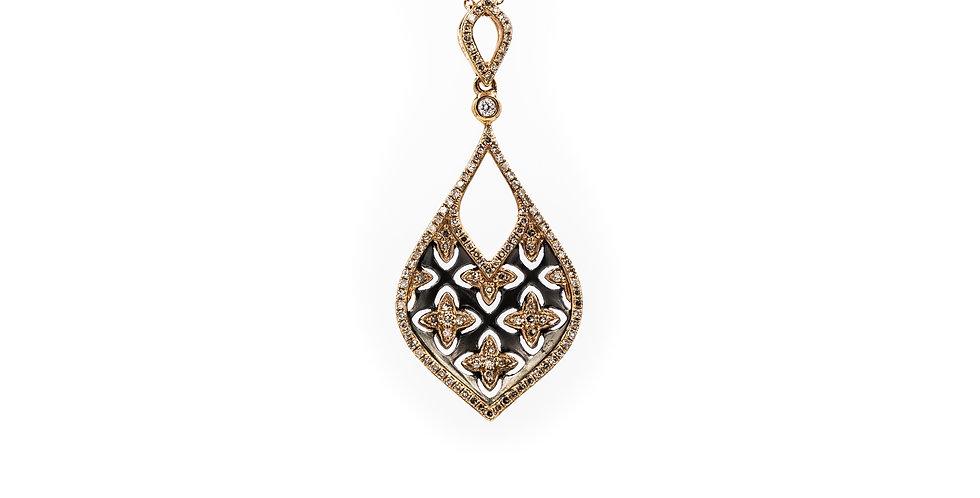 Rose Gold Diamond Pendant 121 Stones Necklace