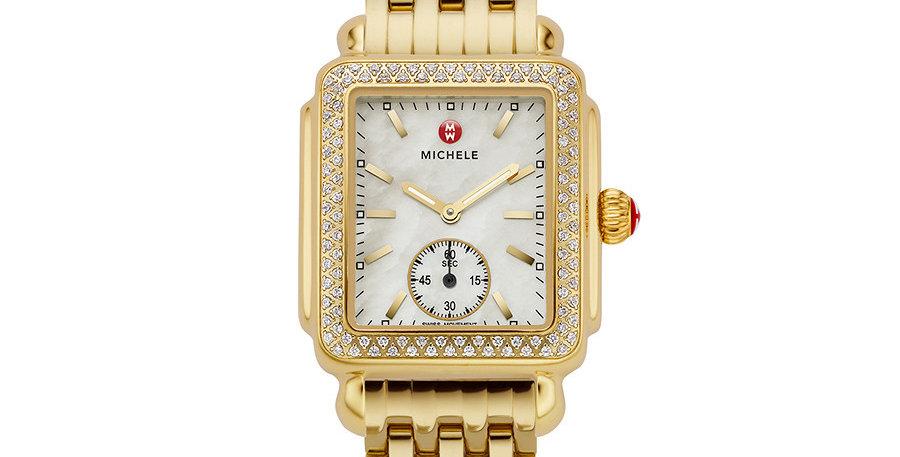 Michele Deco Mid Diamond Gold Watch MWW06V000003