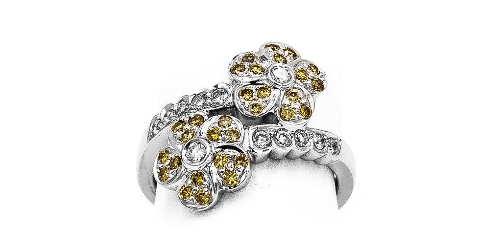 White Gold Yellow Sapphire/Diamond Flower Bypass Ring