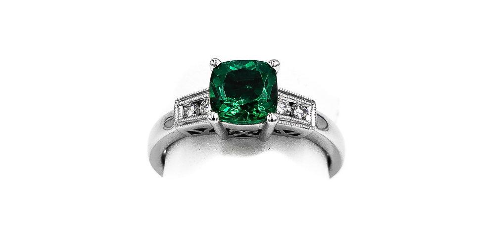 White Gold Lab Emerald Cushion Cut Ring