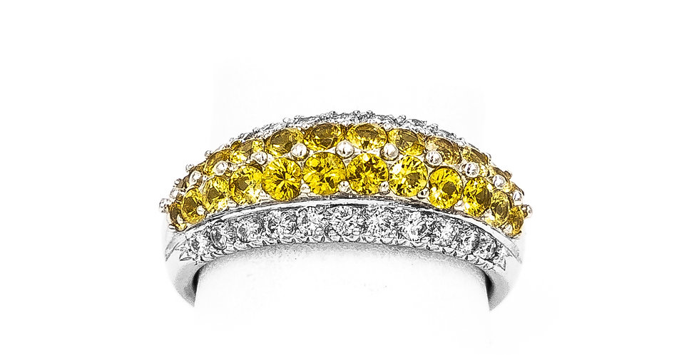 White Gold Yellow Sapphire Dome Style Prong Set Ring
