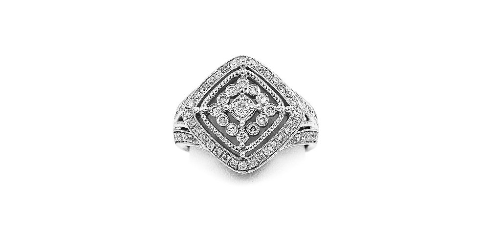 White Gold Antique MiliGrain Diamond Shape Design Ring