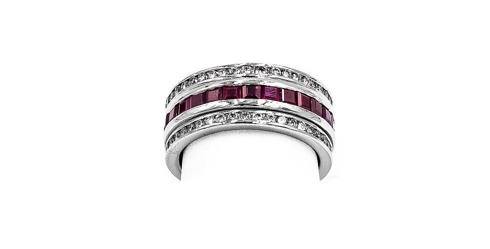 White Gold Ruby/Diamond Entirety Channel Set Ring