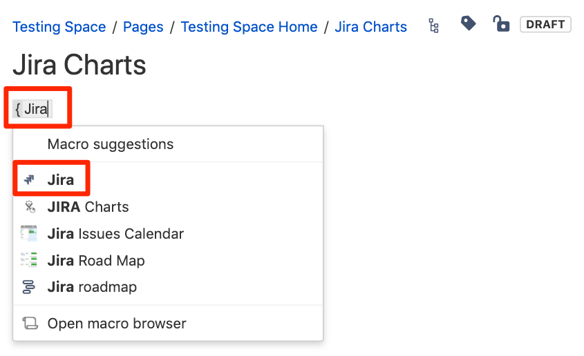 Insert Macro on Confluence Pages using brackets {}
