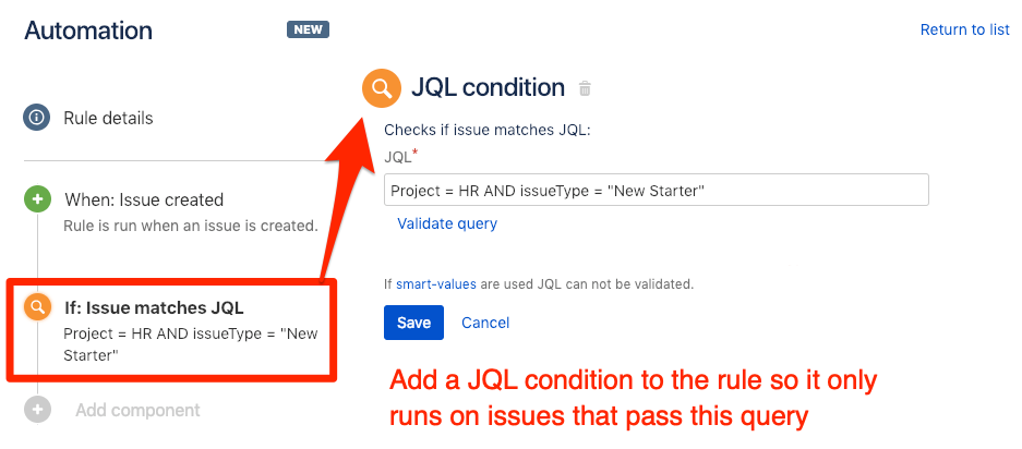 Add JQL (Jira Query Language) condition to trigger rule