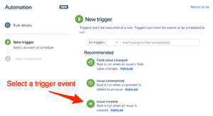 Select event trigger when Jira issue created